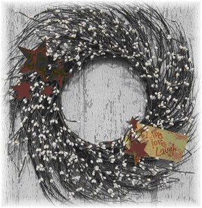 Whispy Star Berry Wreath-wreaths, berries, stars, whispy, country, primitive,