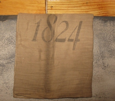"""1824"" Primitive Towel-tea towels, antiques, early prim, colonial,"