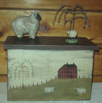 Toaster Cover/Cupboard, 4 Slice, Handpainted w/Sheep Landscape