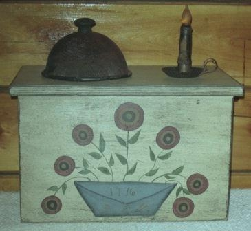 Toaster Cover/Cupboard, 2 Slice, Handpainted w/Penny Mat Flowers
