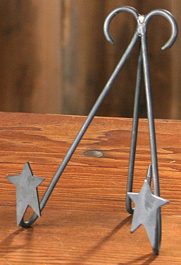 "Black Iron  Folk Star - Foldable Frame/Plate Holder - 5"" H"