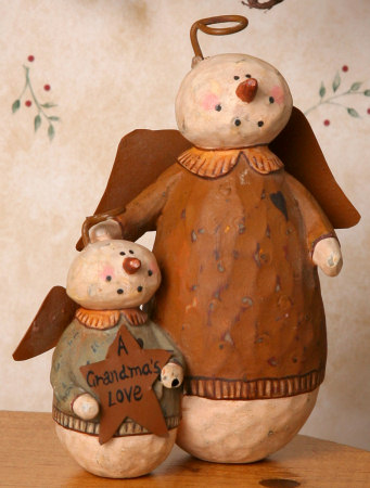 "Snowman Angel - ""A Grandma's Love"", Figurine  -  NEW-snowmen, primitive, primitive snowman collection, angels, snowmen decor, seasonal, country,"