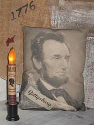 Primitive Pillow - Abe Lincoln/Gettysburg w/Cheesecloth