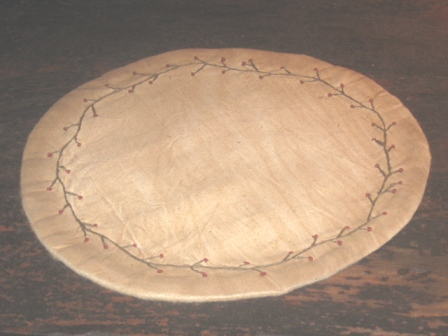 "Aged Large Round Candle Mat - ""Berry Vine"", 11 1/2"" Dia."