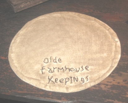 "Aged  Medium Round Candle Mat - ""Olde Farmhouse Keepings"", 10"" Dia. -  NEW"