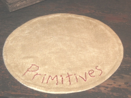 "Aged Medium Round Candle Mat - ""Primitives"", 10"""