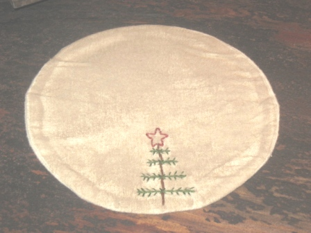 "Aged Small Round Candle Mat - ""Feather Tree"", 8"" Dia."