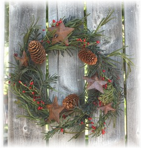 Barn Star Pine & Berry Candle Ring/Wreath-wreaths, winter, pine cones, berries, barn stars, candle rings,