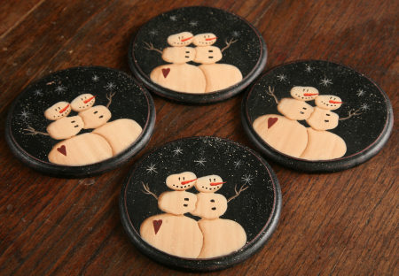 Primitive Snowman  Collection - Snowmen Wooden Coaster Set