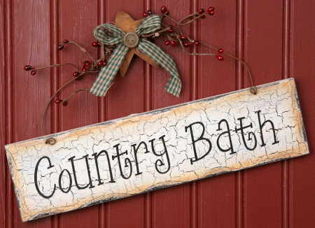 Sign - Country Bath, Wood, Hanging
