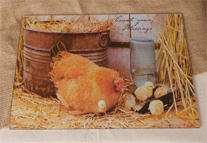 "Cutting Board, Tempered Glass - ""Chicken & Chicks"""