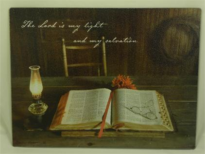 "Cutting Board, Tempered Glass - ""The Lord is My Light and My Salvation"""