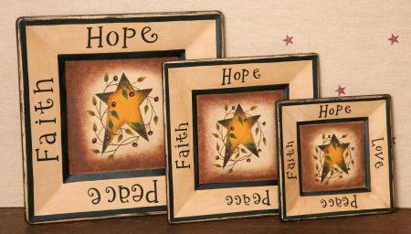 Plates - Faith, Hope, Love, Peace, Wood  - Square