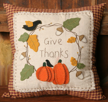 "Stitchery - Pumpkin ""Give Thanks"" - Pillow"