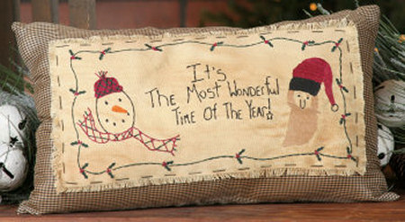"Stitchery, ""It's the Most Wonderful Time of the Year"" - Pillow"
