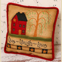 "Stitchery -""Live Laugh Love"" - Pillow - 8"" Sq."