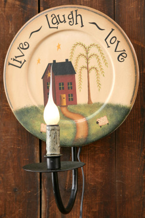 Live, Laugh, Love Collection - Wood Plate, Electric Light