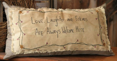 "Stitchery - ""Love, Laughter and Friends"" - Pillow"