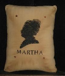 Primitive Stenciled Pillow - Martha Washington