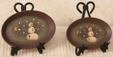 Primitive Snowman Collection - Mini Oval Plates - Set of  2