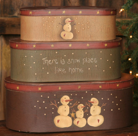 "Nesting Boxes - Primitive Snowman Collection -""There is Snow Place Like Home"", Oval-nesting boxes, winter,snowmen,"