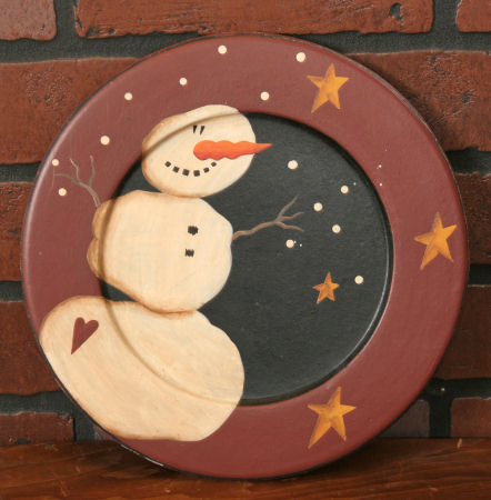 Plate - Primitive Snowman  Collection -  Wood