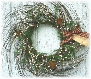 Prim Winter Star Wreath-primitive wreaths, stars,berries, twigs,