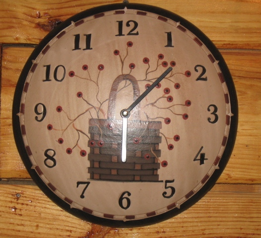 Primitive Berry Basket Collection - Wall Clock, Wood