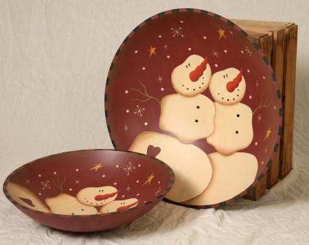 HUGE Bowls - Primitive Snowman Collection, Wood