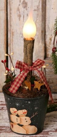 Primitive Snowman Collection - Tin Bucket Light, Black
