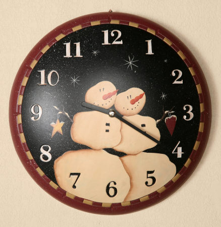 Primitive Snowman Collection - Wall Clock, Wood-clocks, primitive, snowmen, country, primitive snowman collection,