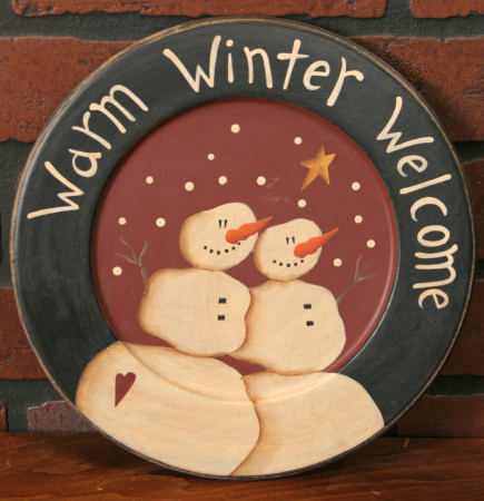Plate - Primitive Snowman Collection - Warm Winter Welcome - Wood