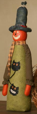 Pumpkin Pal, Sanded Body, Cat Applique