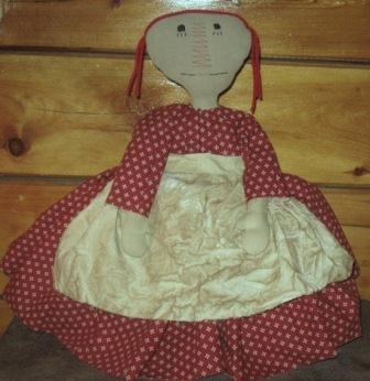 Raggedy Ann Toaster Cover, Red Civil War Repro Print Dress/Muslin Apron