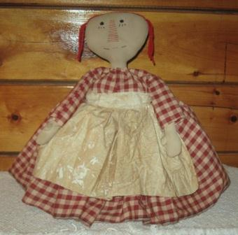 Raggedy Ann Toaster Cover, Large Red Check Homespun Dress/Muslin Apron
