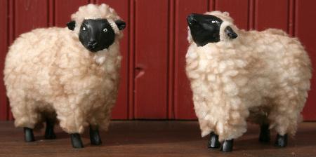 Sheep - Wooly, Plush, Resin (Set of 2)