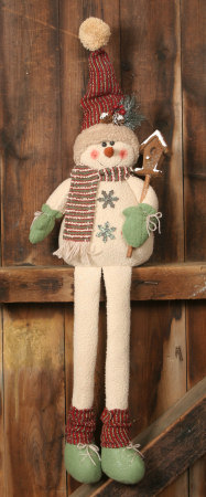 Snowman Folk w/Long Legs, Sitting - Birdhouse