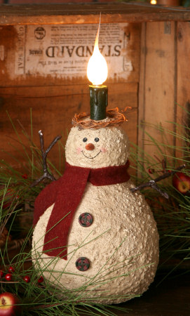 Snowman - Electric Light - Burgundy Scarf