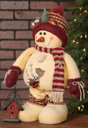 Extendable Snowman - Birdhouse, Red Hat/Scarf