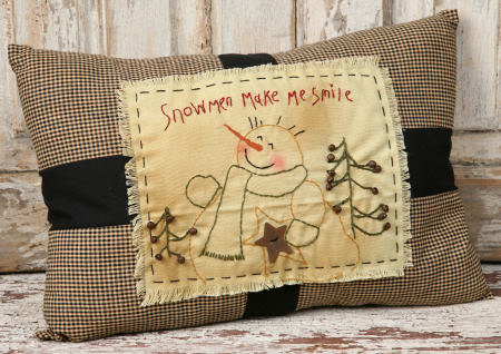 "Stitchery - ""Snowmen Make Me Smile"" - Pillow"