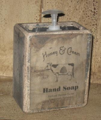 "Large Soap Box - ""Honey & Cream Hand Soap""-soap boxes, wooden, bath room decor, primitive, wooden soap holders,"