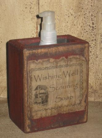 "Large Soap Box - ""Wishing Well Scouring Soap""-soap boxes, wood, early prim, primitive, vintage labels, wash room decor, bathroom decor,"