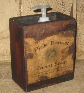 "Large Soap Box - ""Pink Bonnet Facial Soap""-soap boxes, wood holders for soap, bathroom soap dispensers, primitive, early prim,"