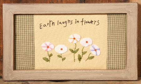"Stitchery -  ""Earth Laughs in Flowers"", Frame, Wood  -  NEW"