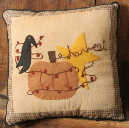 "Stitchery - ""Crow and Pumpkin"" - Pillow"