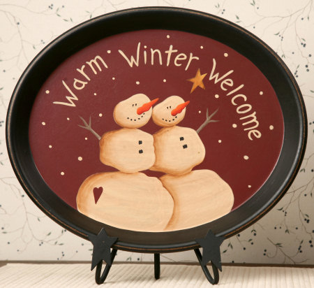 Warm Winter Welcome - Wooden Oval Tray