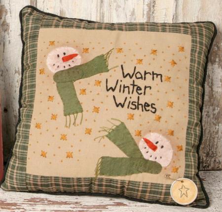 """Stitchery - """"Warm Winter Wishes -  Pillow"""