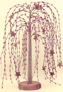 Willow Tree w/Stars-willow, trees, stars, burgundy