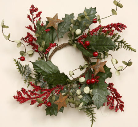 Winter Greens - Rusty Stars, Wreath -  NEW-wreaths, winter, rusty stars,
