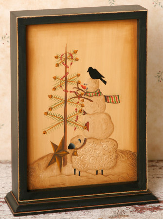 Winter Moments - Wooden Stand, Tree Decorating - Crow, Sheep, Snowman